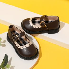 Toddler / Kid White Lace Trim Plaid Lining Brown Velcro Shoes