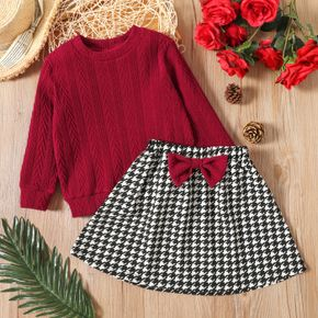 2-piece Toddler Girl Cable Knit Textured Sweater and Bowknot Design Houndstooth Skirt Set