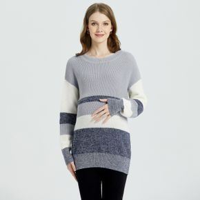 Maternity Contrast Striped Tape Round Neck Sweater
