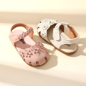Toddler / Kid Floral Decor Solid Color Cut Out Braided Ankle Strap Sandals