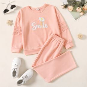 2-piece Kid Girl Letter Floral Print Embroidered Pink Sweatshirt and Elasticized Pants Casual Set