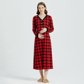 Maternity Thanksgiving Buffalo Plaid Nightgowns with Pocket