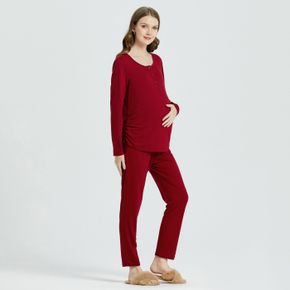 Maternity Christmas Half Button Ruched Side Long-sleeve Pajamas
