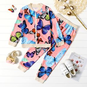 2-piece Kid Girl Butterfly Print Zipper Bomber Jacket and Pants Casual Set