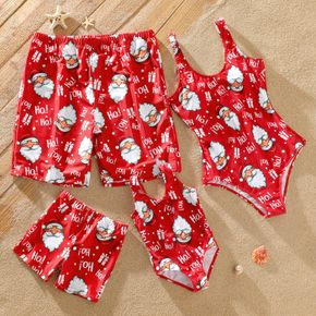 Christmas Allover Santa Claus Print Red Family Matching Sleeveless Bodysuits and Shorts Swimwear Sets