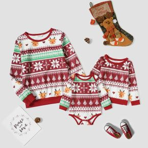 Christmas All Over Print Red Round Neck Long-sleeve Fleece Lined Pullover for Mom and Me