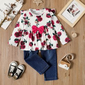 2-piece Toddler Girl Ruffled Bowknot Design Floral Print Long-sleeve Top and Ripped Denim Jeans Set