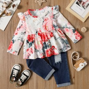 2-piece Toddler Girl Ruffled Floral Print Long-sleeve Top and Ripped Denim Jeans Set