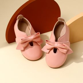 Toddler Pink Bow Decor Velcro Shoes
