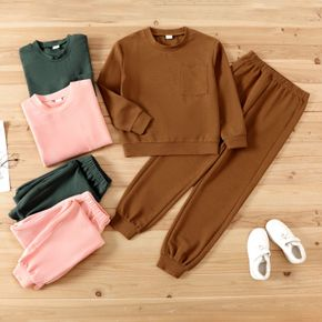 2-piece Kid Boy/Kid Girl Solid Color Pullover Sweatshirt and Pants Casual Set