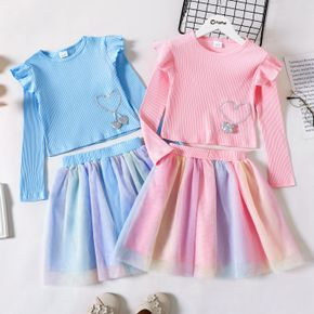 2-piece Kid Girl Heart Embroidered Ruffled Ribbed Long-sleeve Top and Colorful Mesh Skirt Set