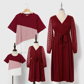 Family Matching Swiss Dot Long-sleeve Belted Wrap Dress and Color Block T-shirts Sets