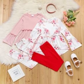 2-piece Kid Girl Ruffled Floral Print/Solid Color Long Bell sleeves High Low Top and Leggings Set