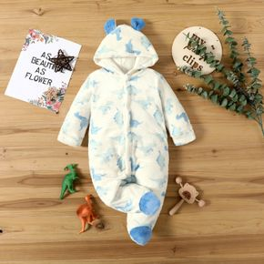 Baby All Over Dinosaur Print White Thickened Flannel Long-sleeve Hooded Footed Jumpsuit