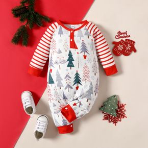Christmas All Over Tree Print Red Striped Long-sleeve Baby Jumpsuit