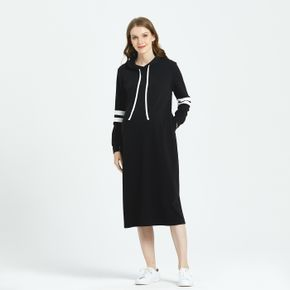Maternity Contrast Striped Tape Long-sleeve Drawstring Hooded Dress