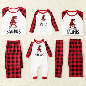 Christmas Red Plaid Dinosaur and Letter Print Family Matching Long-sleeve Pajamas Sets