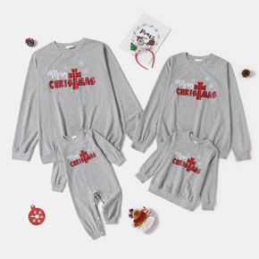 Christmas Red Plaid Letters and Snowflake Print Grey Family Matching Long-sleeve Sweatshirts