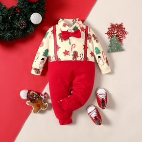 Baby Boy Christmas Tree Stars Print Lapel Collar Button Bow tie Design Faux-two Long-sleeve Jumpsuit