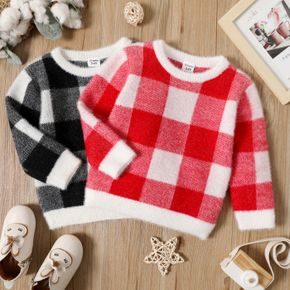 Toddler Girl/Boy Casual Plaid Sweater