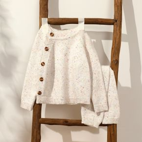 2-piece Baby Boy/Girl Button Design Long-sleeve Knitwear and Pants Set