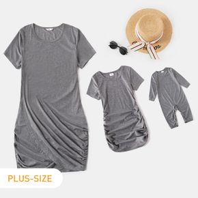 Grey Shirring Short-sleeve Dress for Mom and Me