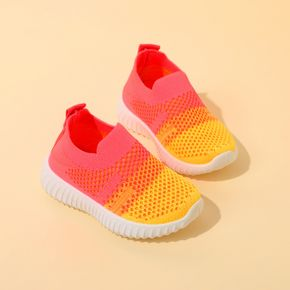 Toddler Colorblock Slip-on Flying Woven Sports Shoes