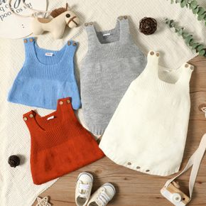 Baby Girl/Boy Button Design Solid Color Sleeveless Knit Romper