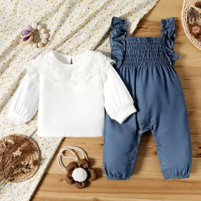 100% Cotton 2pcs Baby Girl Lace Collar Long-sleeve Top and Ruffle Sleeveless Jumpsuit Set