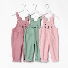 Toddler Girl Cat Embroidered Solid Color Overalls