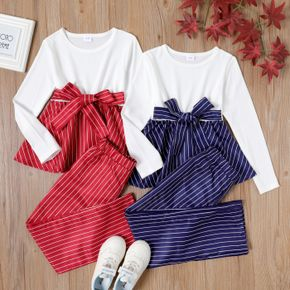 2-piece Kid Girl Striped Bowknot Belted Peplum Long-sleeve Top and Straight Pants Set