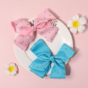 2-pack Hot Drilling Pure Color Bow Hair Clip for Girls