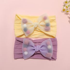 Net Yarn Bow Butterfly Colorful Ball Jacquard Headband for Girls (The ball can be moved and the position is random)