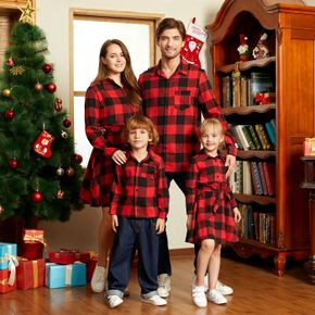 Red and Black Plaid Print Family Matching Sets(Lapel Long-sleeve Belted Dresses and Shirts)