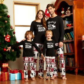 Christmas Moose and Letter Print Family Matching Black Long-sleeve Pajamas Sets (Flame Resistant)