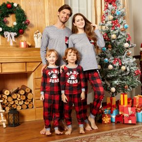Christmas Bear Paw and Letter Print Family Matching Long-sleeve Red Plaid Pajamas Sets (Flame Resistant)