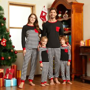 Christmas Striped Color Block Family Matching Long-sleeve Pajamas Sets (Flame Resistant)