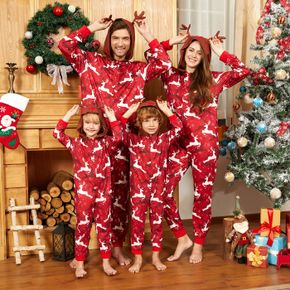 Christmas All Over Reindeer Print 3D Antlers Red Family Matching Long-sleeve Hooded Onesies Pajamas Sets (Flame Resistant)