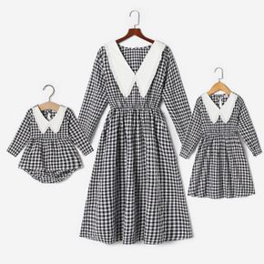 Preppy Style Black and White Plaid Long-sleeve Dress for Mom and Me