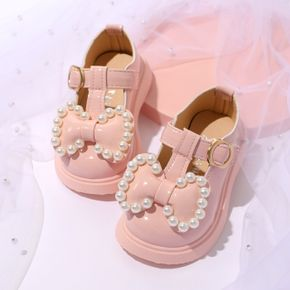 Toddler Faux Pearls Bowknot Decor Pink Velcro Shoes