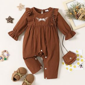 100% Cotton Baby Girl Floral Embroidered Brown Long-sleeve Ruffle Jumpsuit