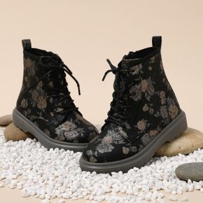 Toddler / Kid Black Floral Print Side Zipper Perforated Lace-up Boots