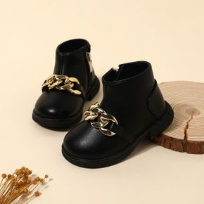 Toddler British Style Black Side Zipper Boots