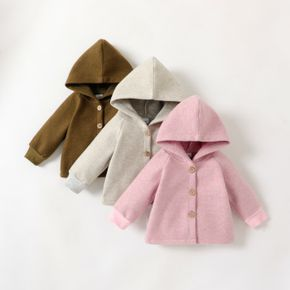Baby Girl/Boy Button Design Solid Color Hooded Coat