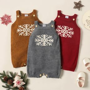 Baby Girl Christmas Snowflake Pattern Knit Overalls