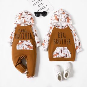 Animal and Letter Print Khaki Long-sleeve Hooded Sweatshirts for Brother and Me