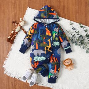 Baby Boy Animal Plant Print Button Design Hooded Long-sleeve Jumpsuit