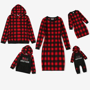 Christmas Red Plaid Family Matching Long-sleeve Dresses and Hoodies Sets