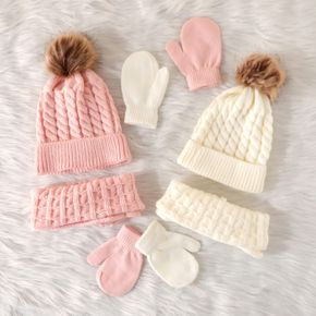 3-pack Baby / Toddler Pompon Decor Pure Color Cable Knit Beanie Hat and Scarf and Mittens Set
