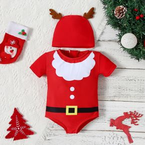 Christmas 2pcs Baby Santa Outfits Red Short-sleeve Swimsuit Set